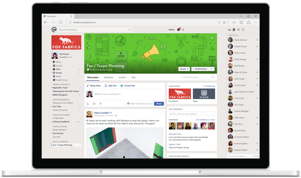 an interface for the new facebook workplace platform on a laptop